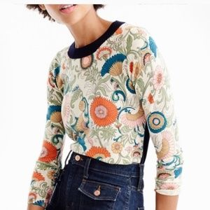 J. Crew Floral Print Merino Wool Sweater